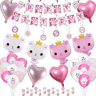 Cat Birthday Party Supplies - Cat Happy Birthday Banner, Crown Cat Balloon, Cat Paw Macaron Balloon, Heart Balloon, Cake T...