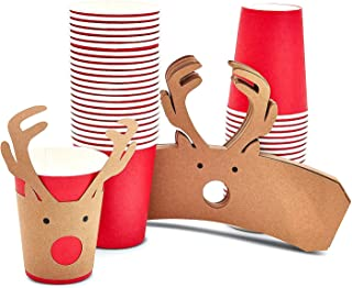 Blue Panda Kraft Christmas Party Cups and Wrappers, Reindeer Antlers (50 Pack)
