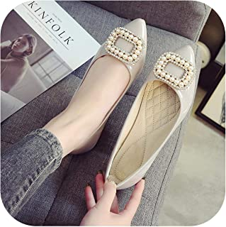 Ling-long Pointed Toe Patent Leather Single Shoe Brand Pearl Crystal Metal Square Buckle Loafers Cozy Slip on Flats Scoop Shoes