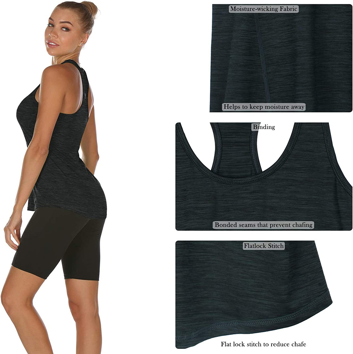 Racerback Athletic Yoga Tops Running Exercise Gym Shirts icyzone Workout Tank Tops for Women