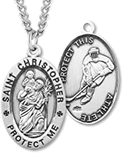 Heartland Men's Sterling Silver Oval Saint Christopher Ice Hockey Medal + USA Made + Chain Choice