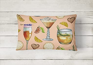Caroline's Treasures BB5200PW1216 Drinks and Cocktails Peach Canvas Fabric Decorative Pillow, 12H x16W, Multicolor