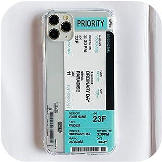 透明航空券搭乗券ラベルコード電話ケースFor iphone 8 7プラス11プロXS XR MAXファッションおかしいクリアソフトカバー-Blue-For iphone 11ProMax