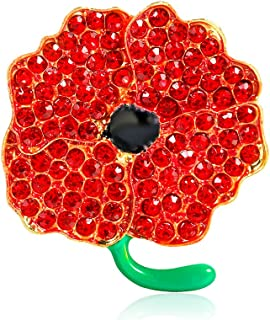GAOZONGTER Red Enamel Flowers Crystal Poppy Brooches Pins for Hero Women Remembrance Day Veterans Day Gifts (pack of 2)