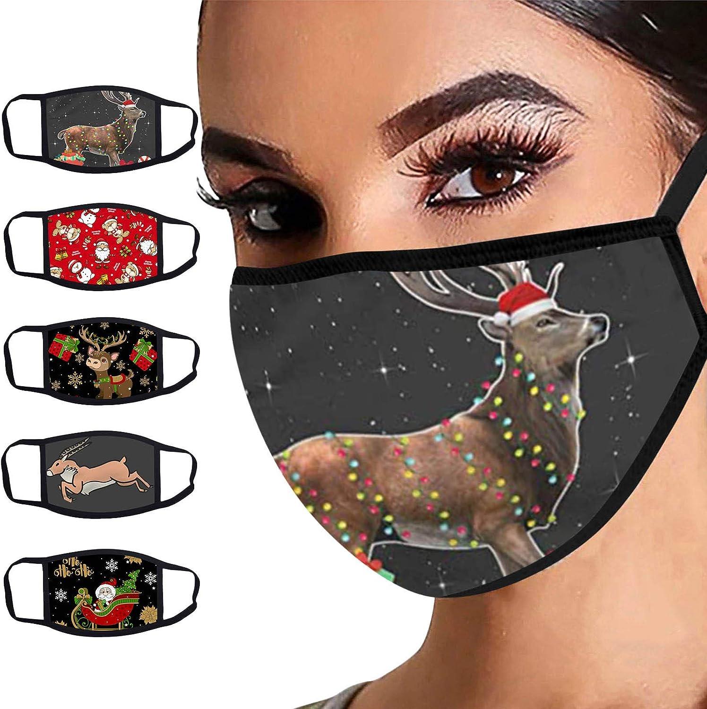 Christmas Face_Bandanas for Adults,Womens Christmas Cute Printed Washable Neck Gaiter Face Cover Reusable Bandanas