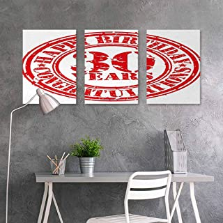 BE.SUN Custom Oil Painting,30th Birthday,Grunge Vintage Rubber Stamp Congratulation Retro Old Fashioned Design,Office Art Decoration 3 Panels,16x24inchx3pcs,Red and White