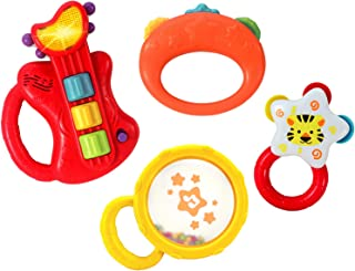 KiddoLab Baby Rocker Musical Kids Guitar Instruments Set with Electric Toy Guitar and Rattles. Baby Guitar Toys for Early Development and Music Educational Learning. 3 Months and Older