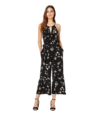 1.STATE Floral Belle Halter Neck Jumpsuit (Rich Black) Women