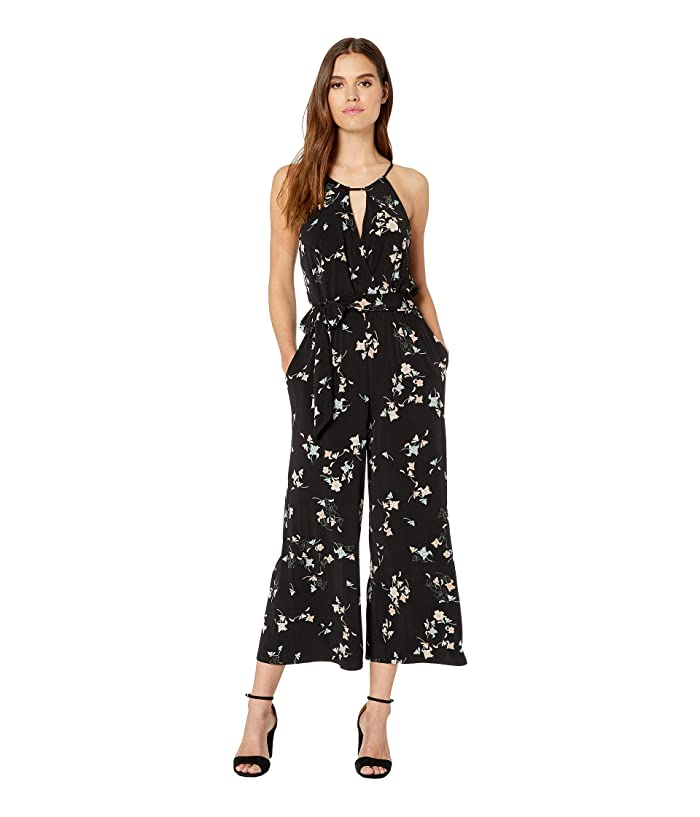 1.STATE  Floral Belle Halter Neck Jumpsuit (Rich Black) Womens Jumpsuit and Rompers One Piece