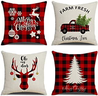 KACOPOL Christmas Decorations Pillow Covers Christmas Tree Snowflake Snowman Reindeer..