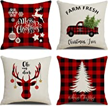 KACOPOL Christmas Decorations Pillow Covers Christmas Tree Snowflake Snowman Reindeer..