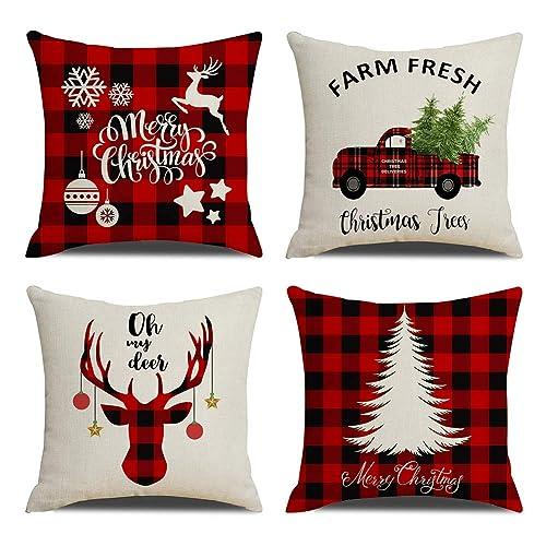 fb4b76c9bb KACOPOL Red Black Buffalo Check Plaid Christmas Tree and Red Car Deer  Pillow Covers Farmhouse Decorative