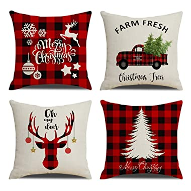 KACOPOL Christmas Decorations Pillow Covers Christmas Tree Snowflake Snowman Reindeer Home Decor Polyester Peach Throw Pillow Case Cushion Cover 18  x 18  Set of 4 Xmas Gifts (Buffalo Plaids-4 Pack)