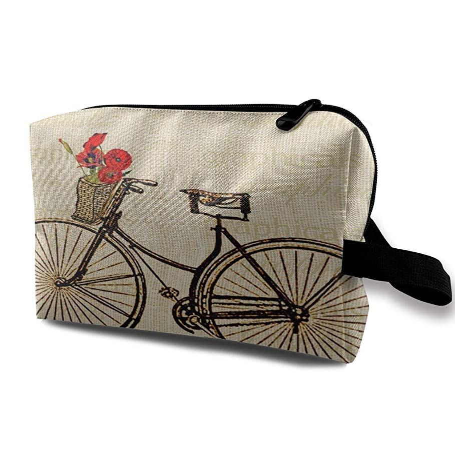 リーン通信する複雑なVintage Bicycle Bike With Flowers Picture 収納ポーチ 化粧ポーチ 大容量 軽量 耐久性 ハンドル付持ち運び便利。入れ 自宅?出張?旅行?アウトドア撮影などに対応。メンズ レディース トラベルグッズ