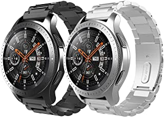 TiMOVO Band Replacement Compatible for Galaxy Watch 46mm/Gear S3 Classic/Gear S3 Frontier, [2-Pack] Premium Stainless Steel Replacement Metal Band Bracelet Strap for Men Women - Black + Silver