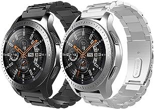 TiMOVO Pulsera Compatible con Galaxy Watch 46mm/Gear S3 Classic/Gear S3 Frontier, [2-Pack] Pulsera del Metal del Acero Inoxidable, Reemplazable - Negro + Plata