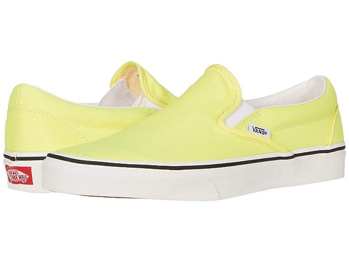 Mens Vintage Shoes, Boots | Retro Shoes & Boots Vans Classic Slip-Ontm Neon Lemon TonicTrue White Skate Shoes $44.99 AT vintagedancer.com