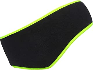 Omeneex Women Ear Warmers headband Double-Layer Fleece More Thicker Men's Headband/Women's Ponytail Earband Ear Warmer (Black-Hi-vis Green)