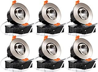 TORCHSTAR 6-Pack 3 Inch Gimbal LED Dimmable Recessed Light with J-Box, 7W (50W Eqv.) 500lm, Airtight, ETL/Energy Star, CRI 90+, 5000K Daylight, 5 Years Warranty, Satin Nickel