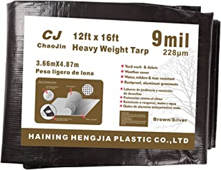 ChaoJin Camping Tarps Waterproof 9-mil Thick Heavy Duty Tarp Grommets Shelter for Boat Tent Yard 12'x16' Brown/Silver