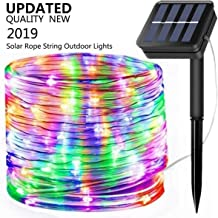 Solar String Lights Outdoor, Updated 100 LED Solar Rope Lights Outdoor Waterproof Fairy Lights 8 Modes Sliver Wire Lights PVC Tube String Light for Garden Fence Party Wedding Decor (Multicolor)