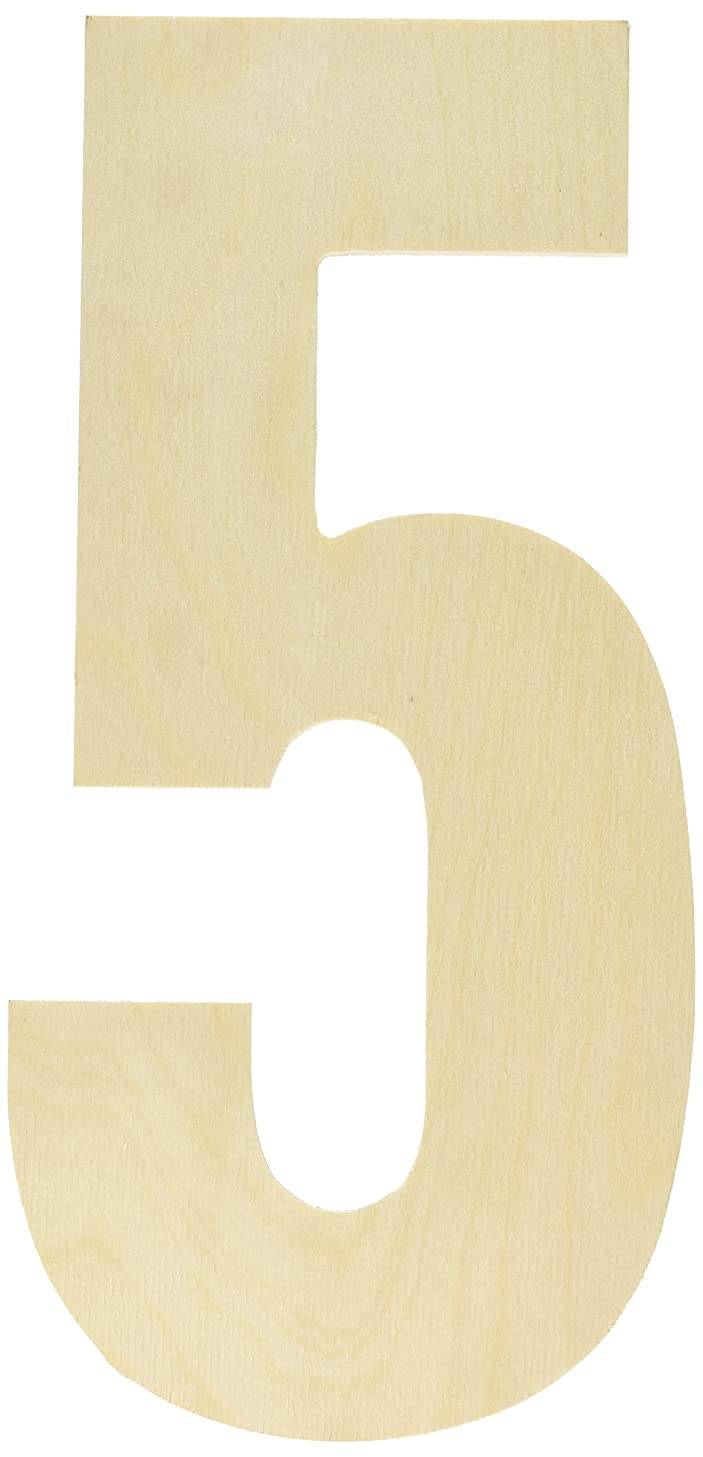MPI Baltic Birch Collegiate Font Letters and Numbers, 13.5-Inch, Number-5