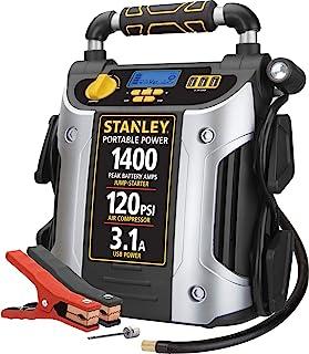 STANLEY J7C09D Digital Portable Power Station Jump Starter: 1400/700 Instant Amps, 120 PSI Air Compressor, 3.1A USB Ports,...