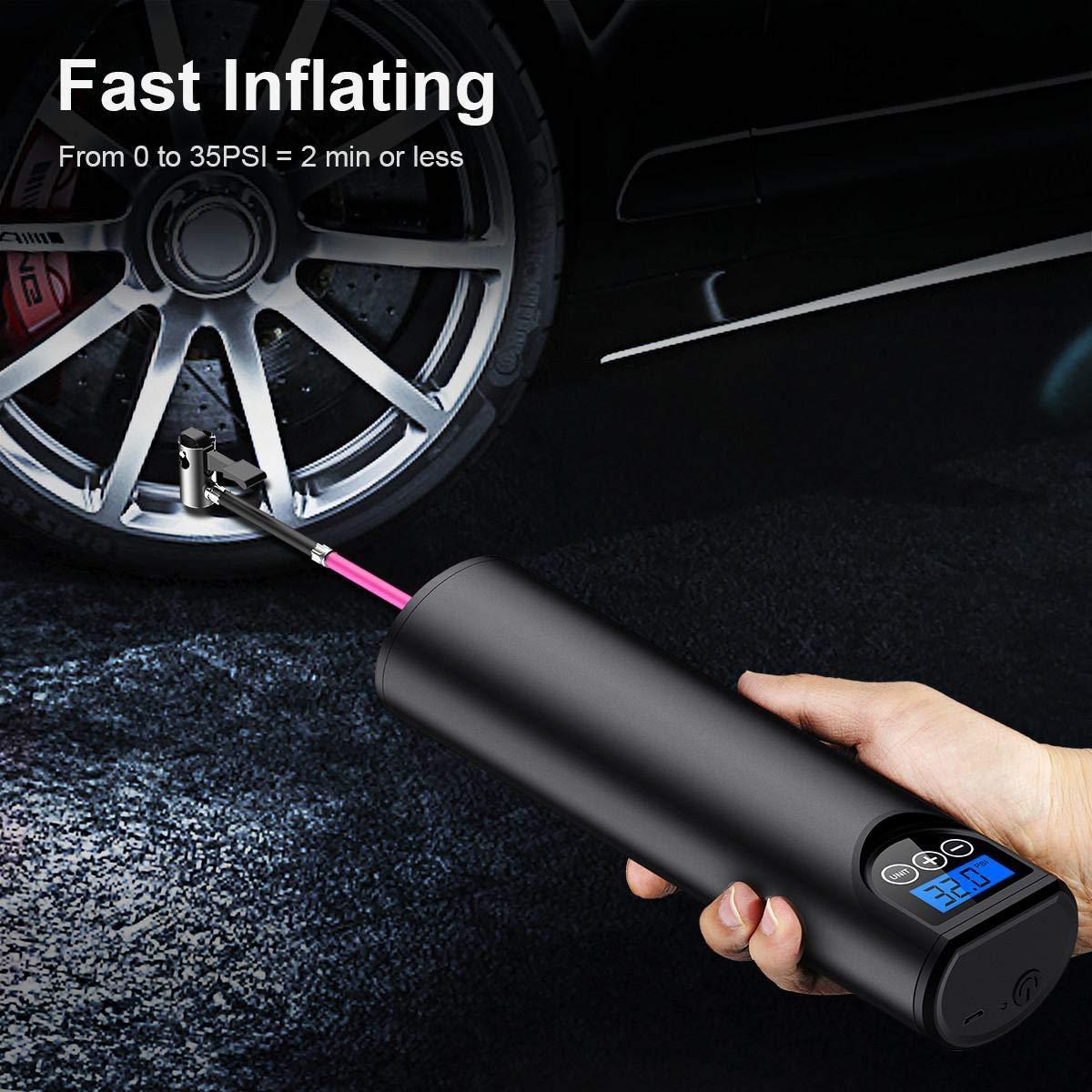 pompe /à air rechargeable de voiture dinflator de Digital daffichage num/érique de gonfleur tenu dans la main sans fil de 12V 150PSI Gris Pompe /à air portative de compresseur