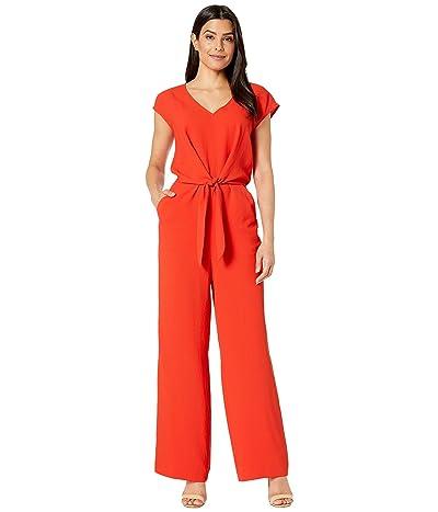 Vince Camuto Extend Shoulder Tie Front V-Neck Jumpsuit (Crimson Red) Women