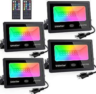 Ustellar 4 Pack 25W RGB LED Flood Lights Color Changing Indoor Outdoor Floodlights Floor Lamp Party Uplighting Landscape l...