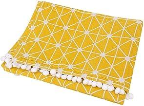 Raguso con 3 Bolsillos Cubierta a Prueba de Polvo de Lino de algodón Amarillo Rejilla de Tablero de ajedrez Blanco Multiusos para Horno de microondas para el(55 * 130cm 51x21inch)