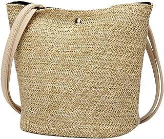 GSERA Frauen Durable Weave Stroh Strandtaschen Leinen Gewebte Eimertasche Gras Casual Tote Handtaschen Stricken Rattan Tas...
