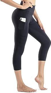 High Waist Yoga Capris Tummy Control Workout Running Leggings Out Pocket 4 Way Stretch Yoga Pants