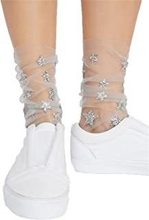 Edtoy 1 Pairs Stars pattern Women Socks Sheer Slouch Socks Transparent Lace Socks