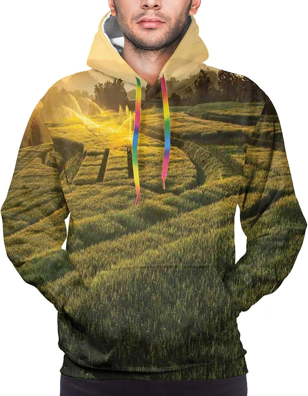 TENJONE Men's Hoodies Sweatshirts,Barcode Style Vertical Stripes Background with White Polka Dots European Motifs