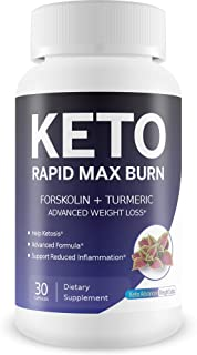 Keto Rapid Max Burn - Advanced Weight Loss - Forskolin Boosted with Turmeric for Extra Diet Power - Reduce Appetite - Release Fat Stores - Burn More Fat - Break Down Fat Faster - Block Fat Absorption