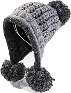 Vic Gray Women Girls Winter Hats Fashion Knitted Beanies Pom Pom Cute Warm Soft Skullies