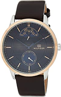 Tommy Hilfiger 1791605 Mens Quartz Watch, Analog Display and Leather Strap, Blue