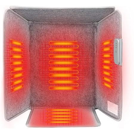 LECDDL 遠赤外線デスクヒーター 省エネパネルヒーター デスクヒーター デスクヒーター 自動OFF機能搭載3段温度調節 四面発熱 五面遮る 足元暖房 冷え対策 暖房器具 (グレー, S)