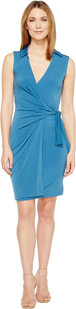 Gracy Sleeveless Wrap Dress with Collar