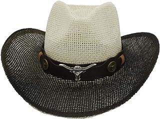WENHAODJ Hombres y Mujeres Occidentales pintan Sombreros de Sombrero de Paja al Aire Libre Junto al mar Boho Sombreros de Vaquero