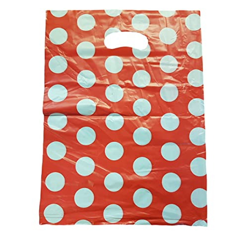"Black Polka Dot PLASTIC CARRIERBAGS GIFT SHOP STRONG HANDLE BAG 10/"" x 12/"""