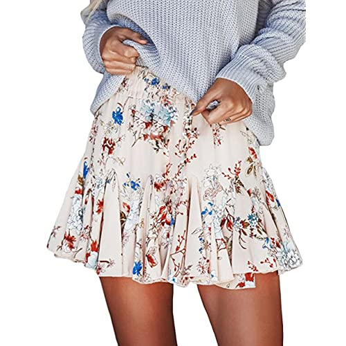 6c1e10bf1e Seven Young Women Girls Chiffon Floral Printed Pleated Skirts Beach Party  Puff Mini Dress