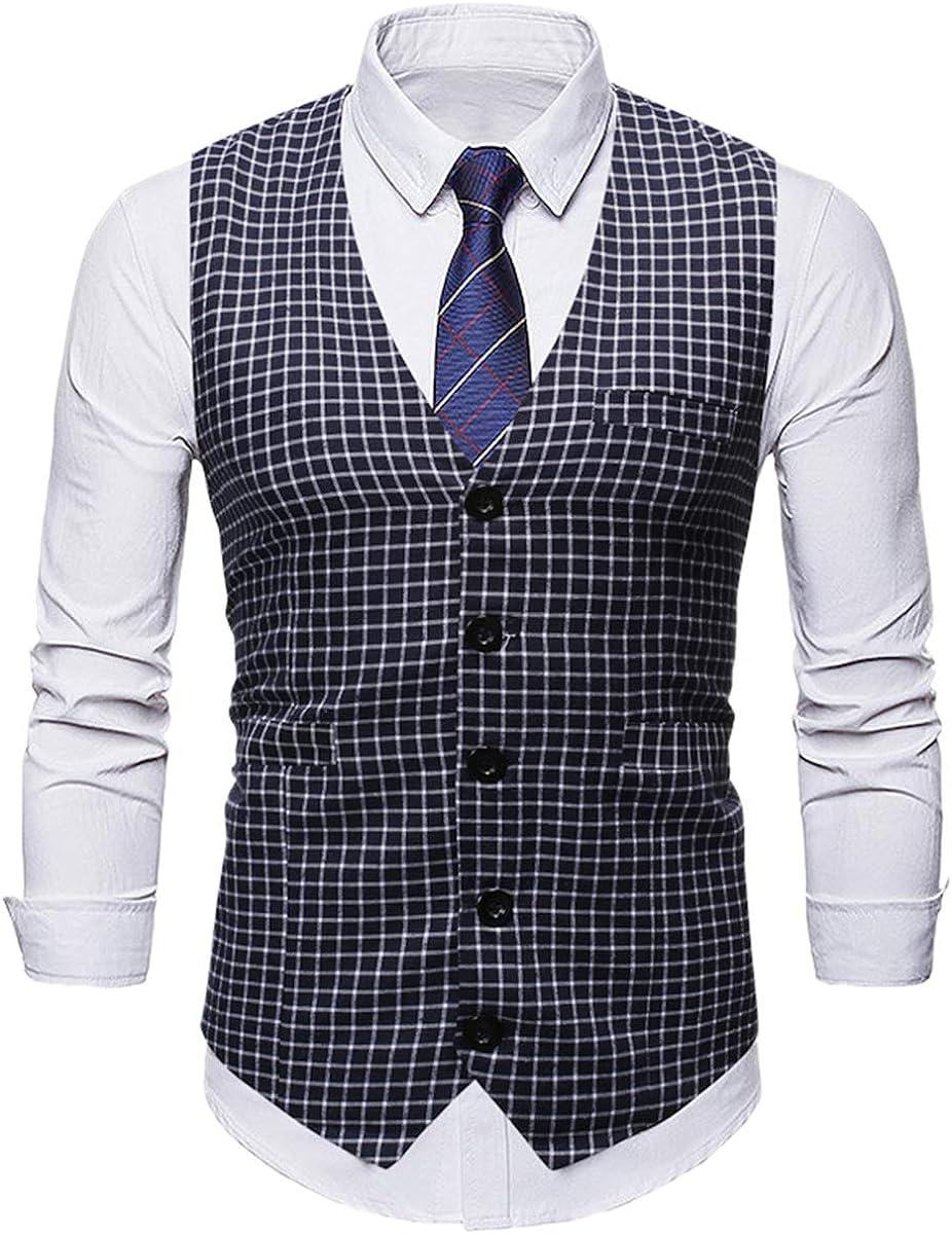 QZH.DUAO Men's Plaid Casual Slim Fit Suit Waistcoat Vest