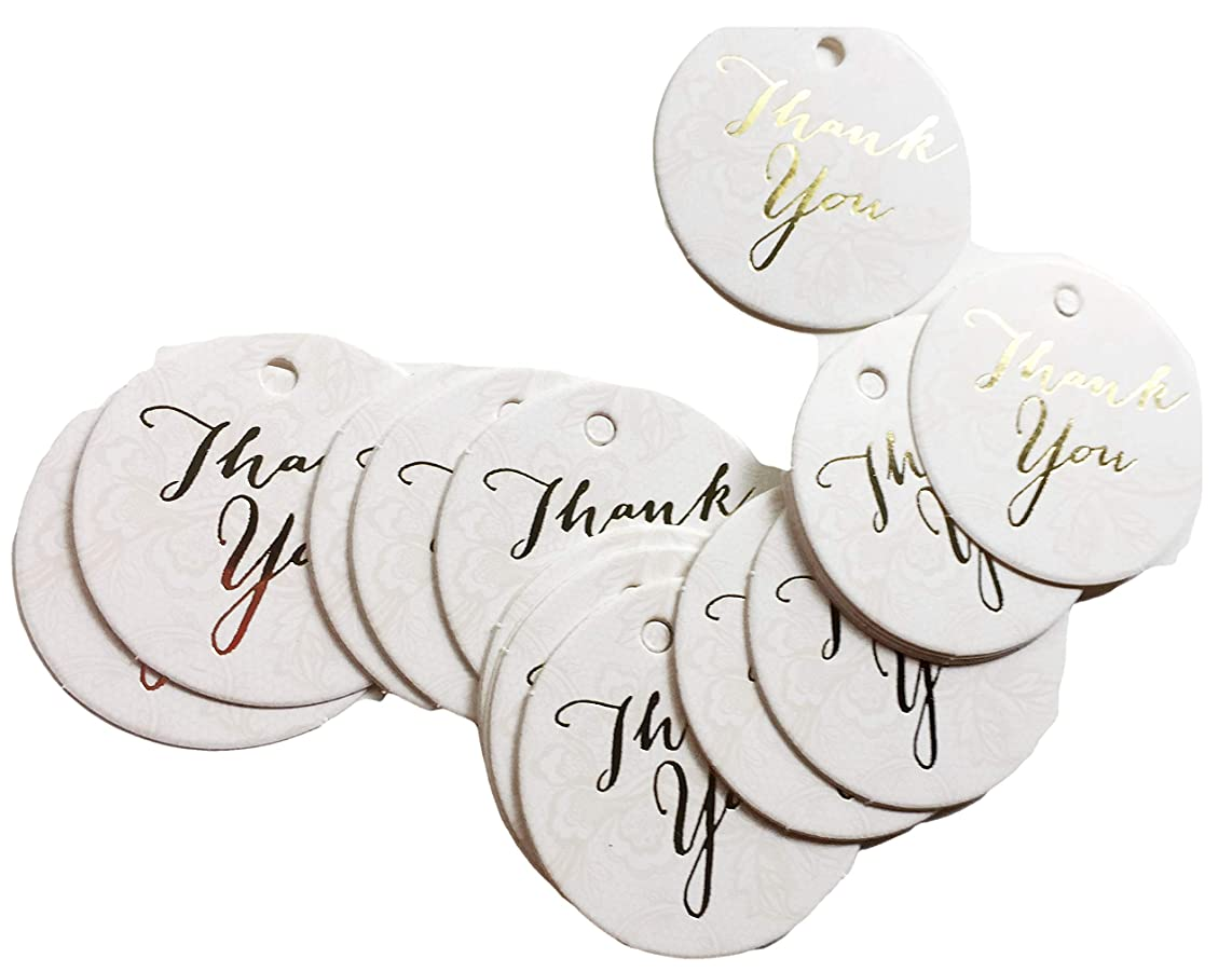 White & Ivory Lace Round Printed Thank You Favor Tags, 24 Ct. Embossed Gold Script Text, Cardstock