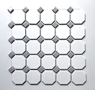 Squarefeet Depot Retro Octagon Porcelain Mosaic Floor and Wall Tile, 12