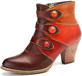 gracosy Women's Ankle Booties, Leather Block Heel Boots Side Zipper Combat Ankle Handmade Short Boots