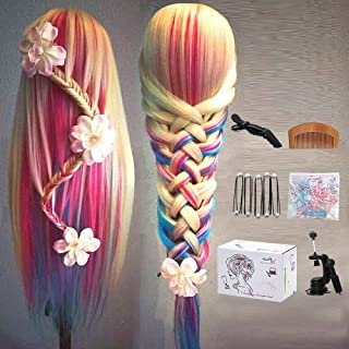 Mannequin head, MYSWEETY 29 Inch Colorful Hair Mannequin Head Hairdressing Practice Training Doll Heads Cosmetology Hair Styling Mannequins Heads with Clamp + Practice Tools
