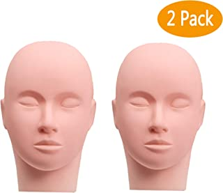 Esthetics Mannequin Head Pro Rubber Practice Training Head Cosmetology Mannequin Doll Face Head for Eyelashes Makeup Practice - Makeup Practice Head,with Mount Hole,Set of 2