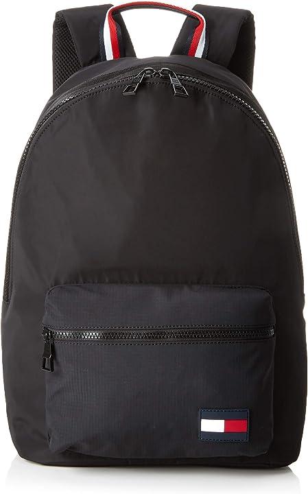 Zaino uomo tommy hilfiger tommy backpack sports tape, (nero), 15x43x30 centimeters (b x h x t) AM0AM04630